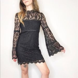NWT Bardot mock neck lace bell sleeve dress